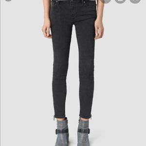 All Saints Mast Ankle Zip Jeans in Washed Black